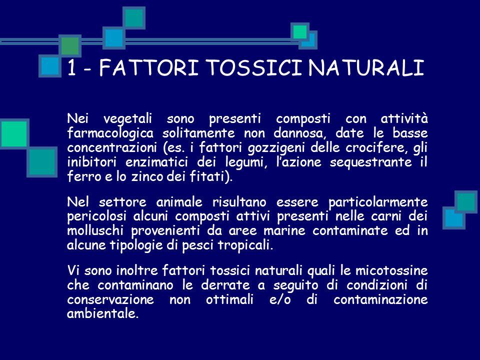 1 - FATTORI TOSSICI NATURALI Nei vegetali sono presenti composti con attività farmacologica solitamente non dannosa, date le basse concentrazioni (es.