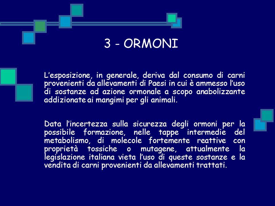 3 - ORMONI L'esposizione, in generale, deriva dal consumo di carni provenienti da allevamenti di Paesi in cui è ammesso l'uso di sostanze ad azione or