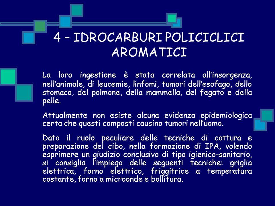 4 – IDROCARBURI POLICICLICI AROMATICI La loro ingestione è stata correlata all'insorgenza, nell'animale, di leucemie, linfomi, tumori dell'esofago, de