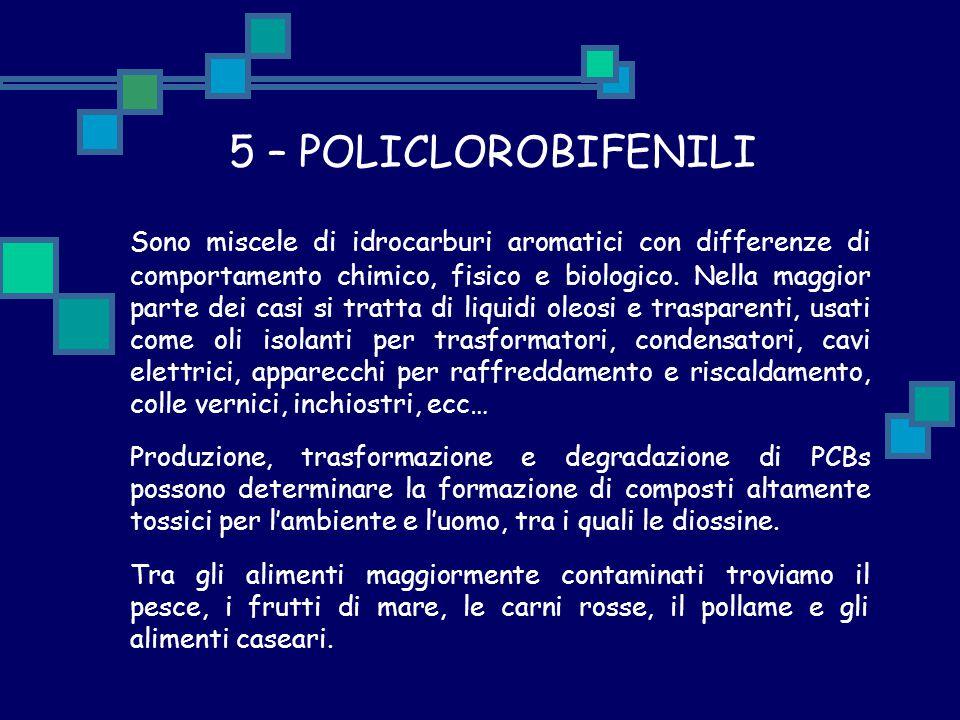 5 – POLICLOROBIFENILI Sono miscele di idrocarburi aromatici con differenze di comportamento chimico, fisico e biologico. Nella maggior parte dei casi