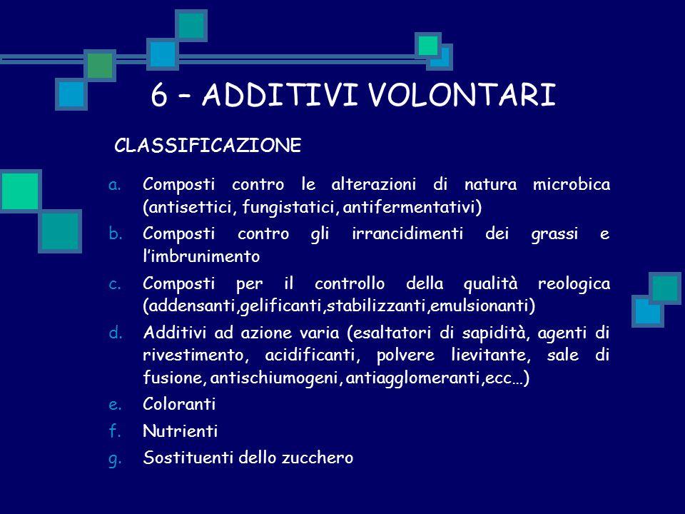 6 – ADDITIVI VOLONTARI CLASSIFICAZIONE a.Composti contro le alterazioni di natura microbica (antisettici, fungistatici, antifermentativi) b.Composti c