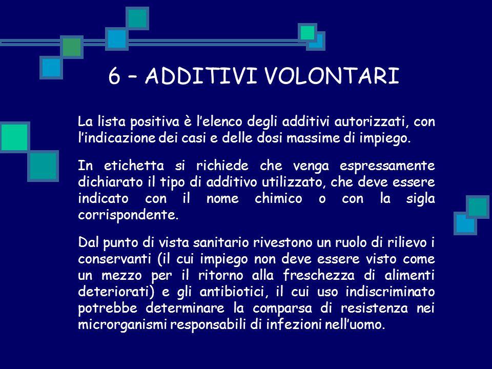 6 – ADDITIVI VOLONTARI La lista positiva è l'elenco degli additivi autorizzati, con l'indicazione dei casi e delle dosi massime di impiego. In etichet