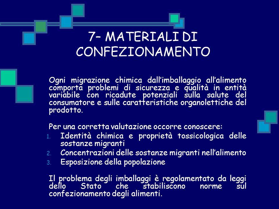 7– MATERIALI DI CONFEZIONAMENTO Ogni migrazione chimica dall'imballaggio all'alimento comporta problemi di sicurezza e qualità in entità variabile con