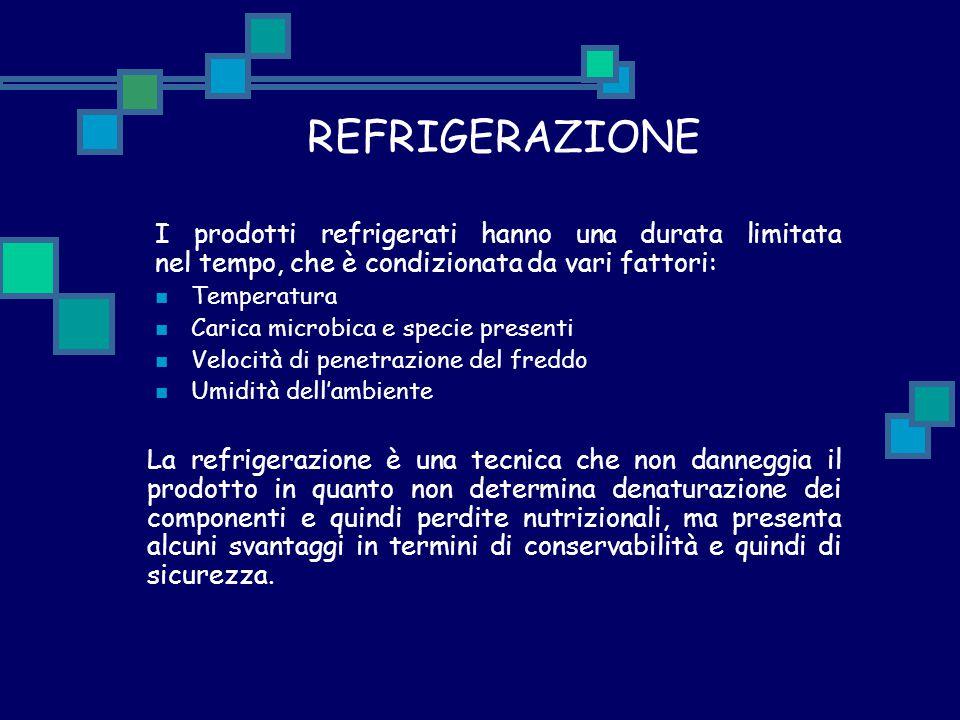 REFRIGERAZIONE I prodotti refrigerati hanno una durata limitata nel tempo, che è condizionata da vari fattori: Temperatura Carica microbica e specie p