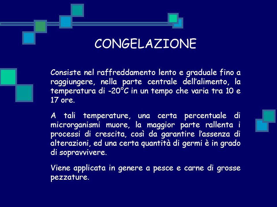 CONGELAZIONE Consiste nel raffreddamento lento e graduale fino a raggiungere, nella parte centrale dell'alimento, la temperatura di -20°C in un tempo