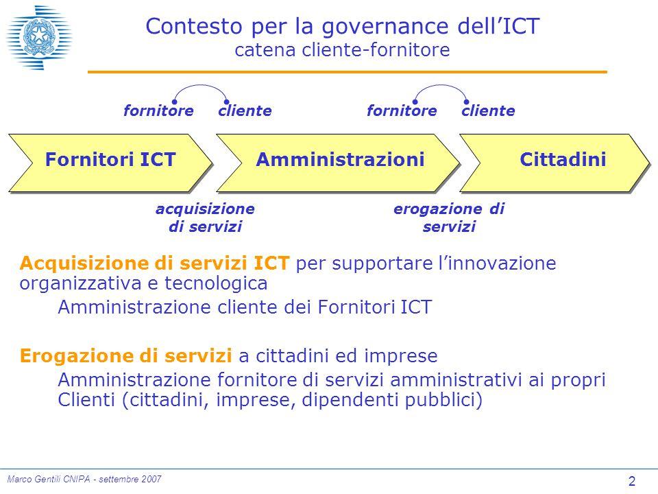 23 Marco Gentili CNIPA - settembre 2007 Qualità delle Linee guida Le Linee guida riescono comunque a scontentare qualcuno 5% non si ritiene per niente soddisfatto Il dato complessivo è estremamente incoraggiante 90% di molto (46%) o abbastanza (44%) soddisfatti L'adozione delle Linee guida convince: 72% migliora la descrizione dei servizi ICT 67% integra le culture per la acquisizione dell'ICT 67% accelera la definizione di contratti ICT 56% valorizza la qualità e contrasta il ribasso di costo Le Linee guida valutate positivamente: 88% sono utili 77% sono interessanti 77% sono un utile strumento formativo 63% sono complete