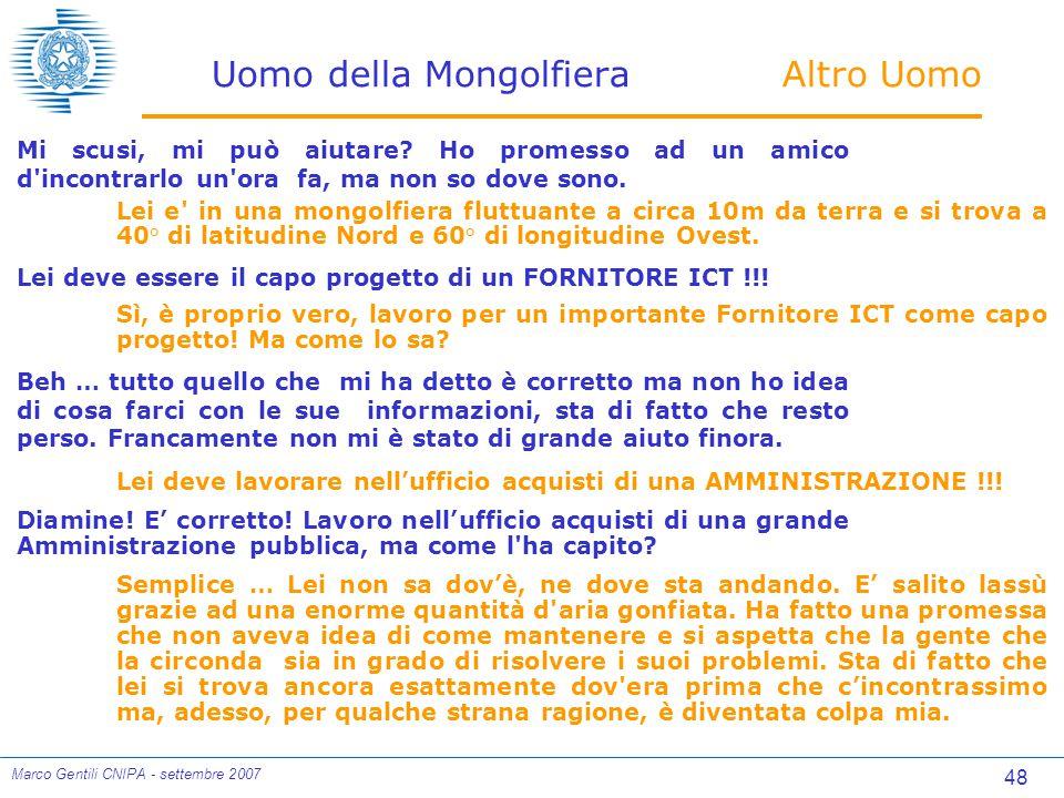 48 Marco Gentili CNIPA - settembre 2007 Uomo della Mongolfiera Altro Uomo Mi scusi, mi può aiutare.