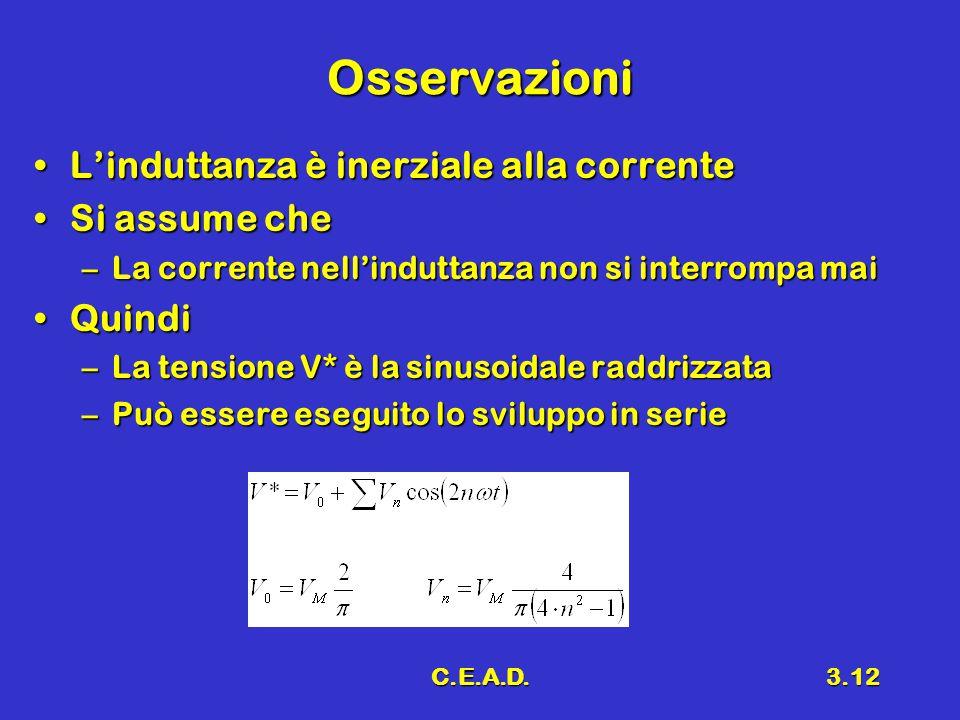 C.E.A.D.3.12 Osservazioni L'induttanza è inerziale alla correnteL'induttanza è inerziale alla corrente Si assume cheSi assume che –La corrente nell'in