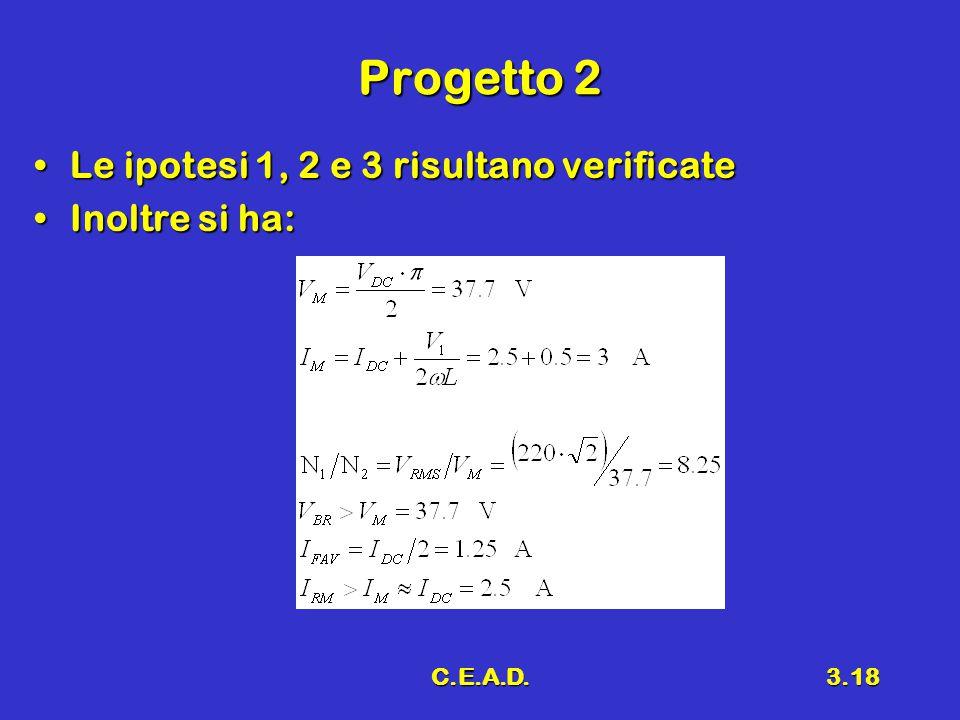 C.E.A.D.3.18 Progetto 2 Le ipotesi 1, 2 e 3 risultano verificateLe ipotesi 1, 2 e 3 risultano verificate Inoltre si ha:Inoltre si ha: