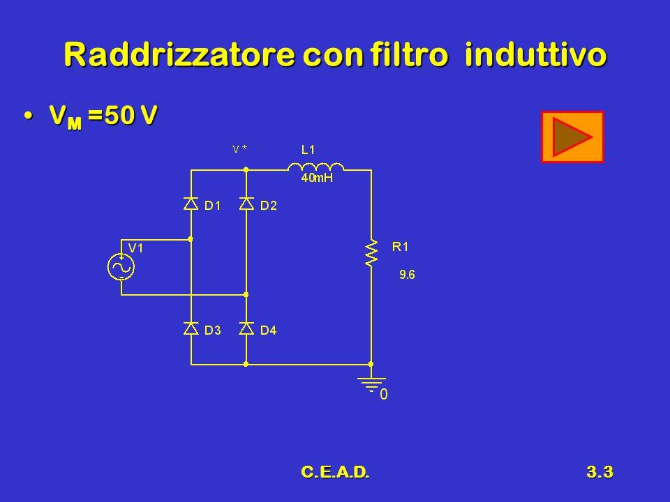 C.E.A.D.3.3 Raddrizzatore con filtro induttivo V M =50 VV M =50 V