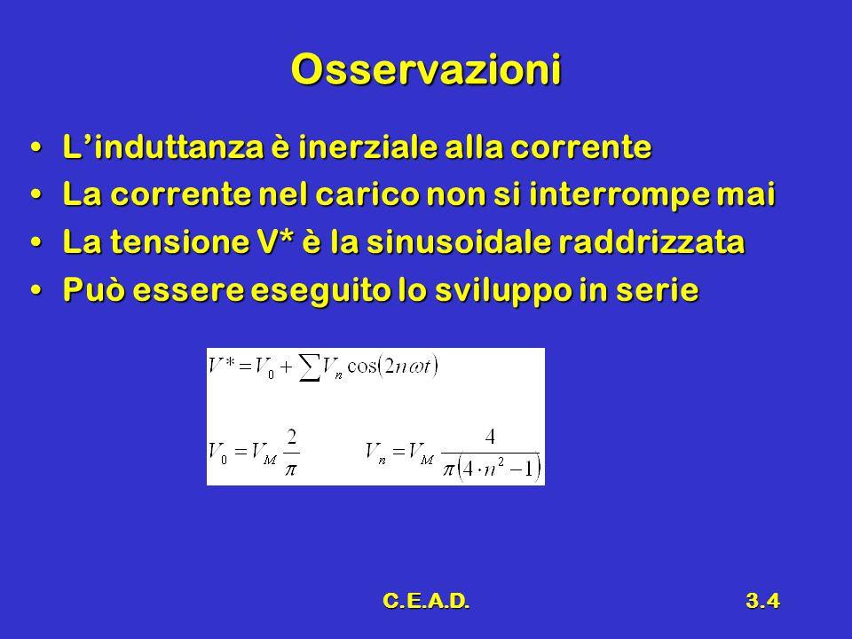 C.E.A.D.3.4 Osservazioni L'induttanza è inerziale alla correnteL'induttanza è inerziale alla corrente La corrente nel carico non si interrompe maiLa c