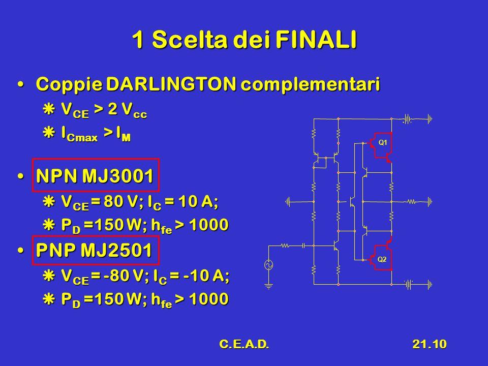 C.E.A.D.21.10 1 Scelta dei FINALI Coppie DARLINGTON complementariCoppie DARLINGTON complementari  V CE > 2 V cc  I Cmax > I M NPN MJ3001NPN MJ3001 