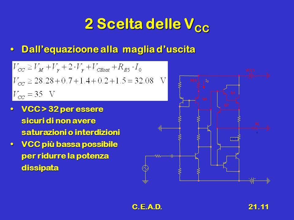 C.E.A.D.21.11 2 Scelta delle V CC Dall'equazioone alla maglia d'uscitaDall'equazioone alla maglia d'uscita VCC > 32 per essereVCC > 32 per essere sicu