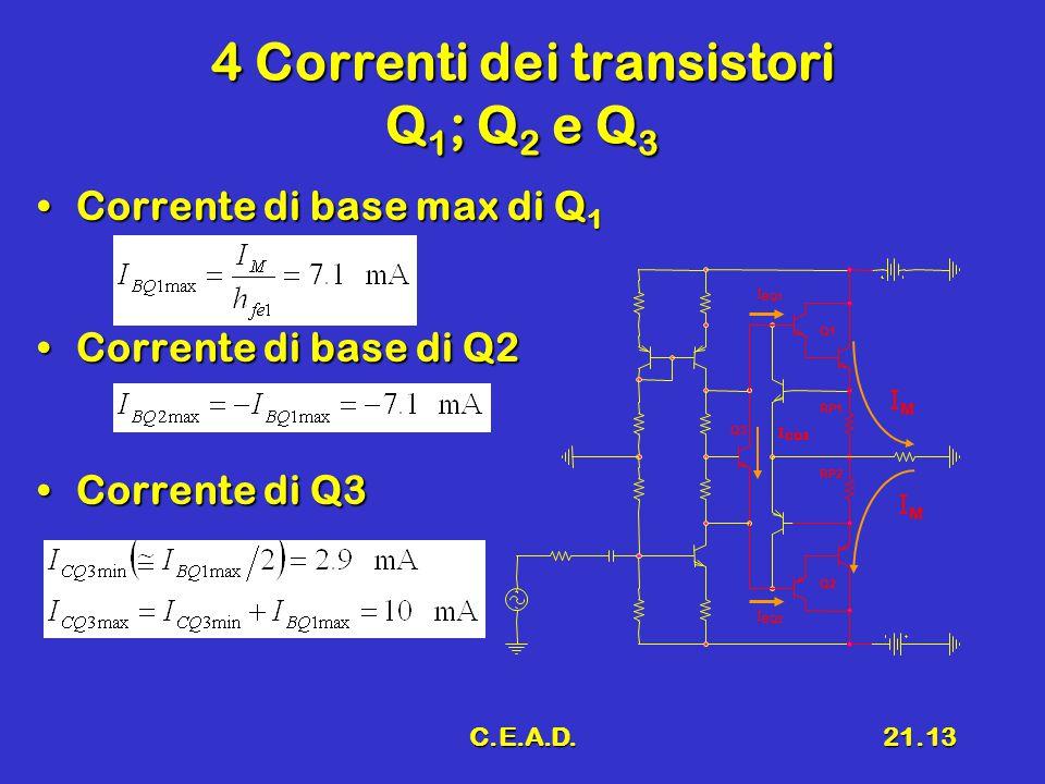 C.E.A.D.21.13 4 Correnti dei transistori Q 1 ; Q 2 e Q 3 Corrente di base max di Q 1Corrente di base max di Q 1 Corrente di base di Q2Corrente di base