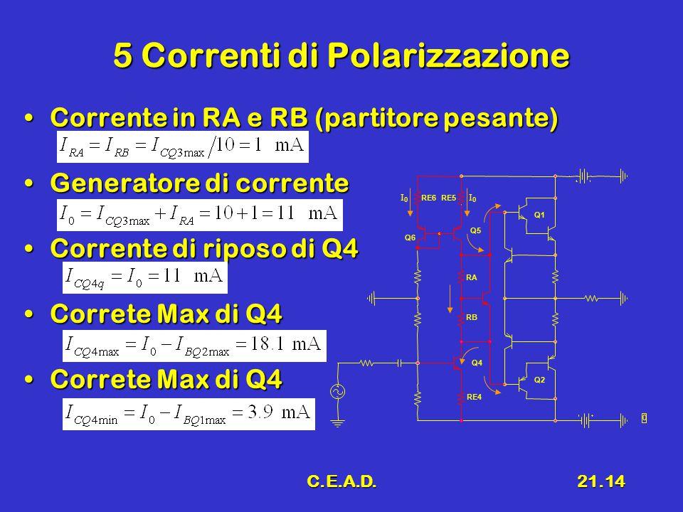 C.E.A.D.21.14 5 Correnti di Polarizzazione Corrente in RA e RB (partitore pesante)Corrente in RA e RB (partitore pesante) Generatore di correnteGenera