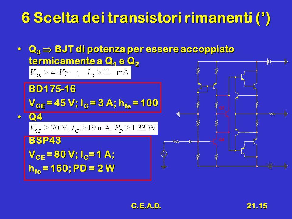 C.E.A.D.21.15 6 Scelta dei transistori rimanenti (') Q 3  BJT di potenza per essere accoppiato termicamente a Q 1 e Q 2Q 3  BJT di potenza per esser