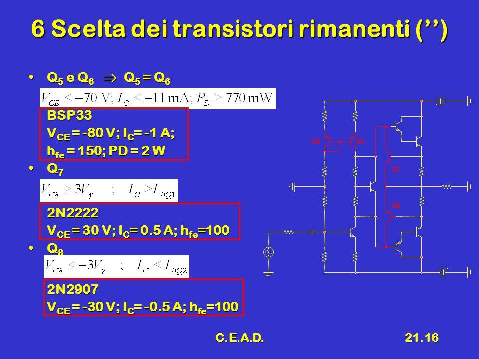 C.E.A.D.21.16 6 Scelta dei transistori rimanenti ('') Q 5 e Q 6  Q 5 = Q 6Q 5 e Q 6  Q 5 = Q 6BSP33 V CE = -80 V; I C = -1 A; h fe = 150; PD = 2 W Q