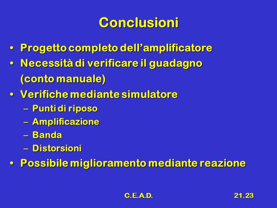 C.E.A.D.21.23 Conclusioni Progetto completo dell'amplificatoreProgetto completo dell'amplificatore Necessità di verificare il guadagnoNecessità di ver
