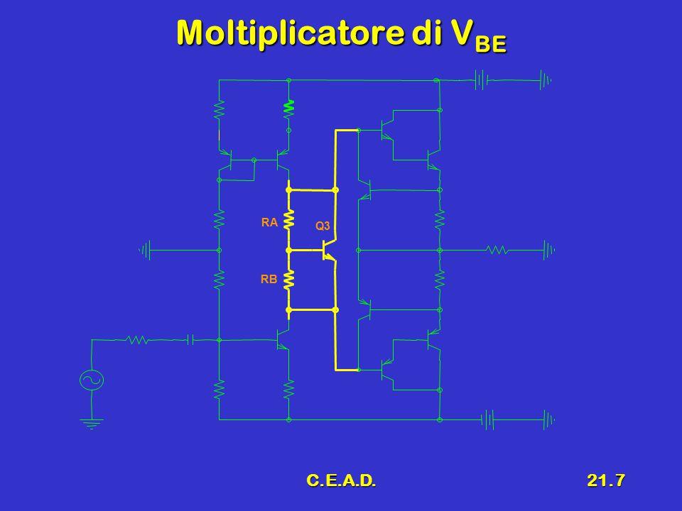 C.E.A.D.21.18 7 Progetto delle resistenze ('') Resistenze del generatore di corrente R E4 e R E5Resistenze del generatore di corrente R E4 e R E5 dall'equazione di VCC Resistenza R E4Resistenza R E4 RE6 VCC1 VCC2 RE4 RE5 I0I0