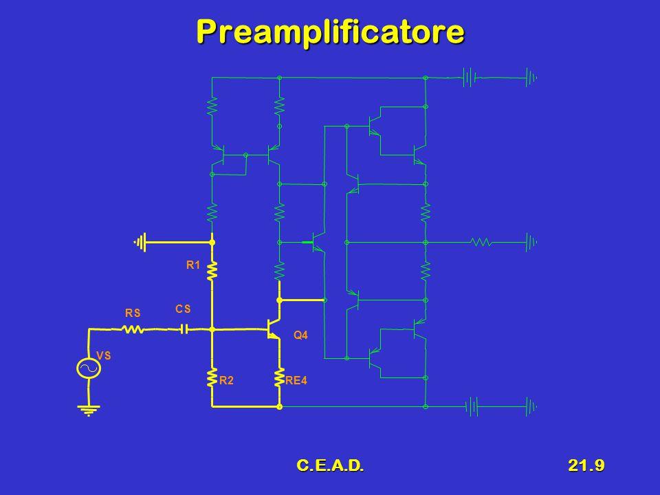 C.E.A.D.21.10 1 Scelta dei FINALI Coppie DARLINGTON complementariCoppie DARLINGTON complementari  V CE > 2 V cc  I Cmax > I M NPN MJ3001NPN MJ3001  V CE = 80 V; I C = 10 A;  P D =150 W; h fe > 1000 PNP MJ2501PNP MJ2501  V CE = -80 V; I C = -10 A;  P D =150 W; h fe > 1000 Q1 Q2