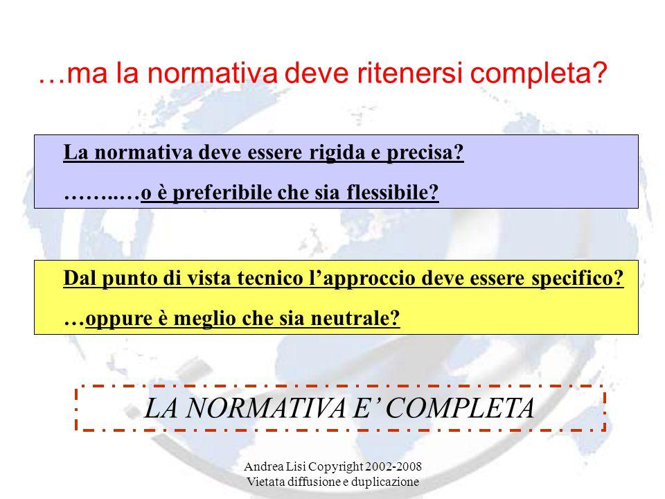 Andrea Lisi Copyright 2002-2008 Vietata diffusione e duplicazione …ma la normativa deve ritenersi completa.