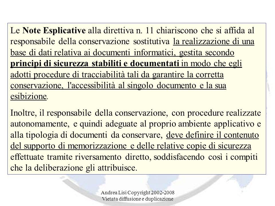 Andrea Lisi Copyright 2002-2008 Vietata diffusione e duplicazione Le Note Esplicative alla direttiva n.