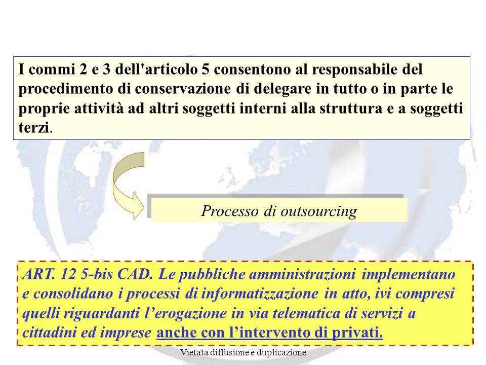 Andrea Lisi Copyright 2002-2008 Vietata diffusione e duplicazione I commi 2 e 3 dell articolo 5 consentono al responsabile del procedimento di conservazione di delegare in tutto o in parte le proprie attività ad altri soggetti interni alla struttura e a soggetti terzi.