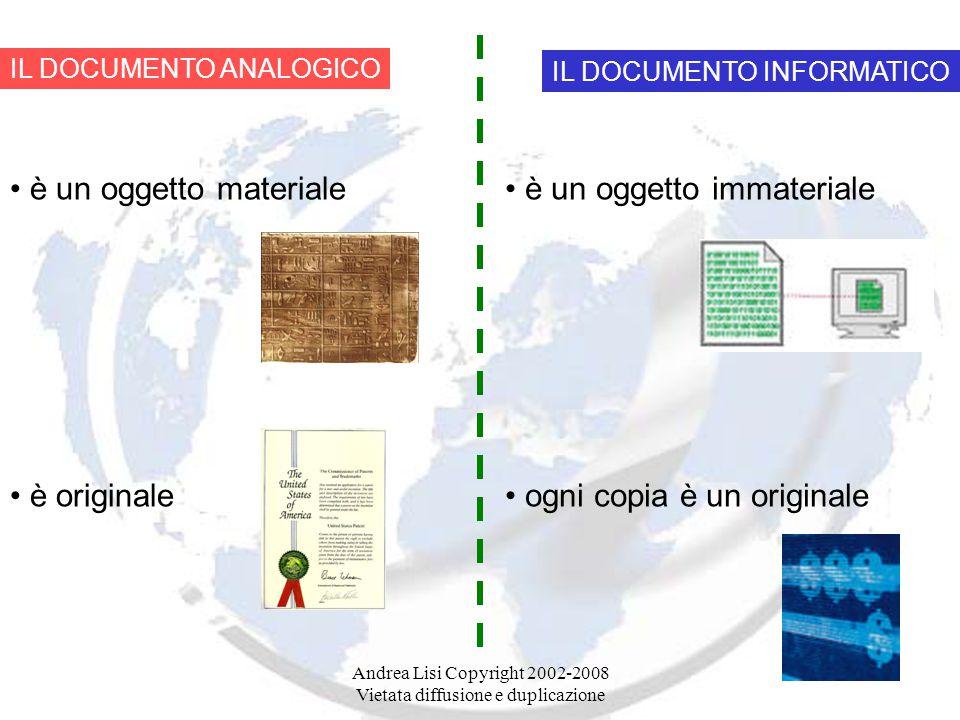 Andrea Lisi Copyright 2002-2008 Vietata diffusione e duplicazione IL DOCUMENTO ANALOGICO è un oggetto materiale è originale IL DOCUMENTO INFORMATICO è un oggetto immateriale ogni copia è un originale