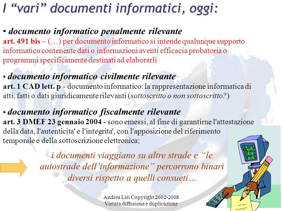 Andrea Lisi Copyright 2002-2008 Vietata diffusione e duplicazione I vari documenti informatici, oggi: documento informatico penalmente rilevante art.