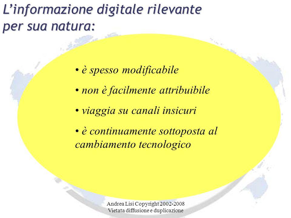 Andrea Lisi Copyright 2002-2008 Vietata diffusione e duplicazione L'informazione digitale rilevante per sua natura: è spesso modificabile non è facilmente attribuibile viaggia su canali insicuri è continuamente sottoposta al cambiamento tecnologico