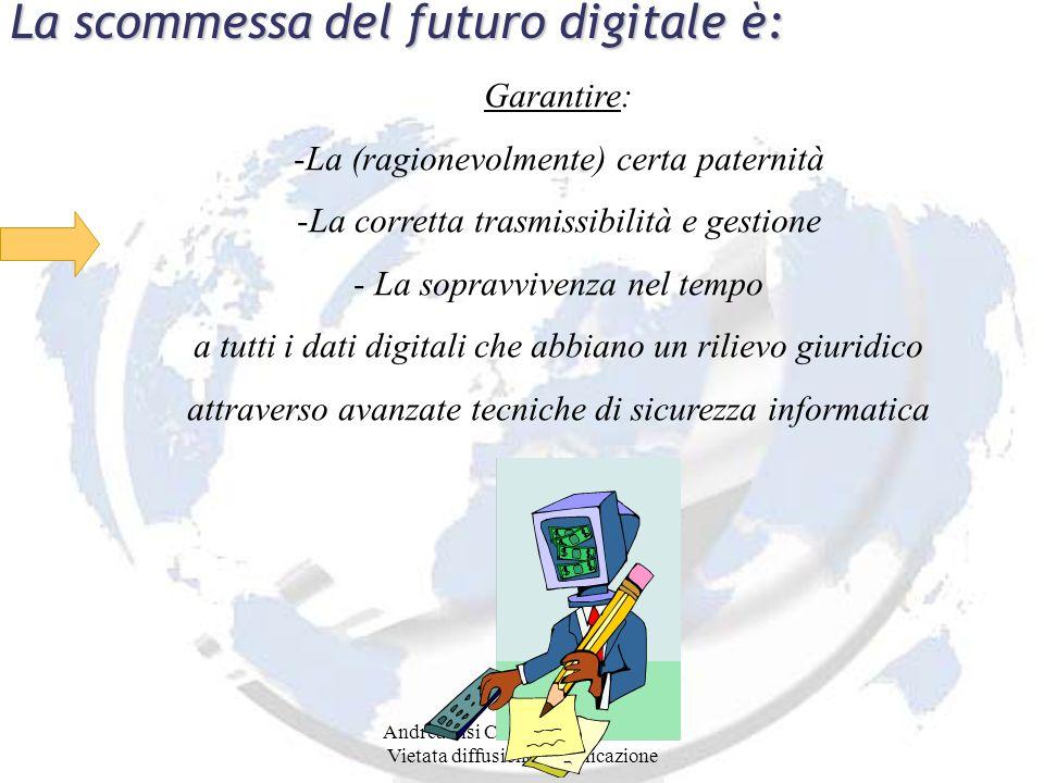 Andrea Lisi Copyright 2002-2008 Vietata diffusione e duplicazione La scommessa del futuro digitale è: Garantire: -La (ragionevolmente) certa paternità -La corretta trasmissibilità e gestione - La sopravvivenza nel tempo a tutti i dati digitali che abbiano un rilievo giuridico attraverso avanzate tecniche di sicurezza informatica