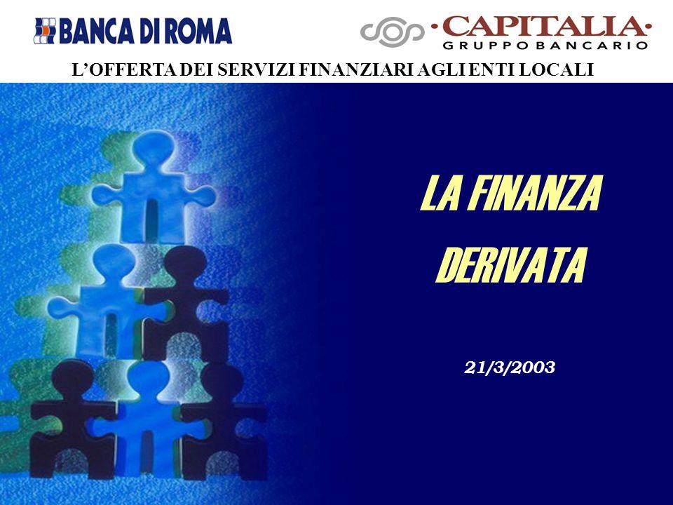 LA FINANZA DERIVATA 21/3/2003 L'OFFERTA DEI SERVIZI FINANZIARI AGLI ENTI LOCALI