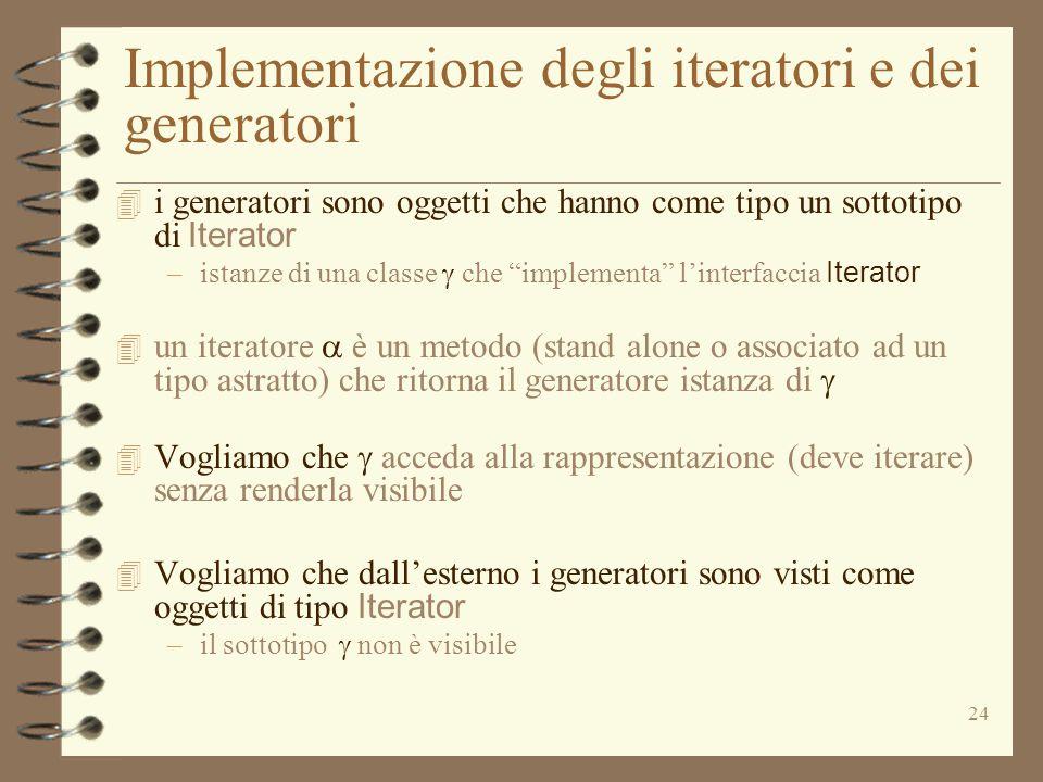 24 Implementazione degli iteratori e dei generatori  i generatori sono oggetti che hanno come tipo un sottotipo di Iterator –istanze di una classe 