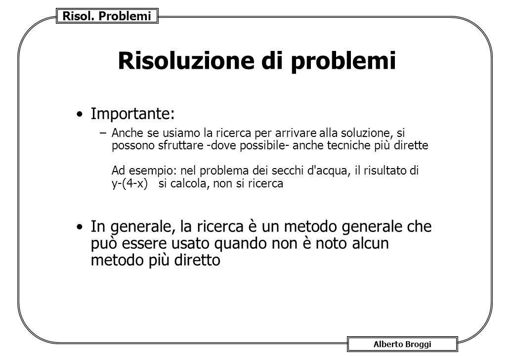 Risol. Problemi Alberto Broggi Risoluzione di problemi Importante: –Anche se usiamo la ricerca per arrivare alla soluzione, si possono sfruttare -dove