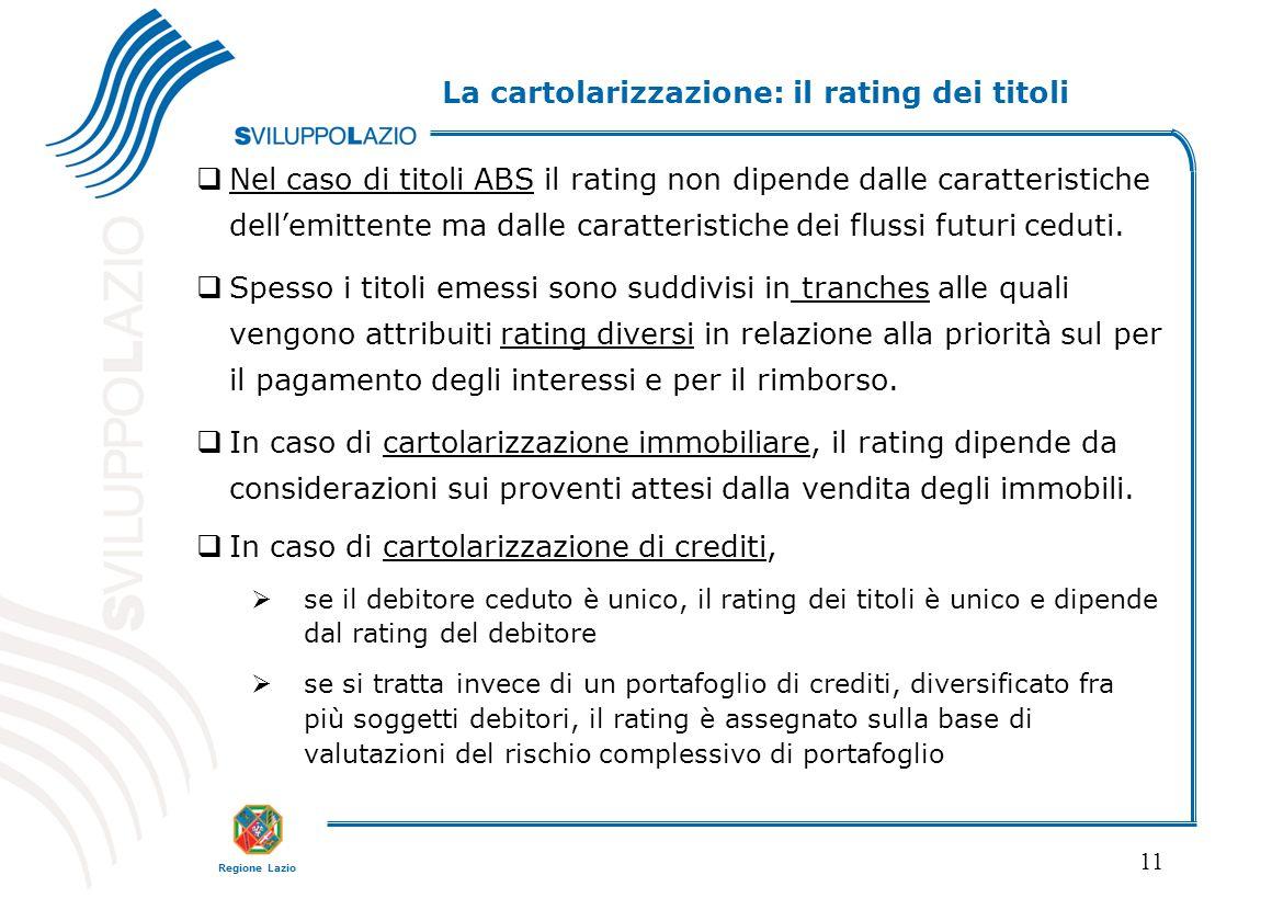 Regione Lazio 11  Nel caso di titoli ABS il rating non dipende dalle caratteristiche dell'emittente ma dalle caratteristiche dei flussi futuri ceduti.