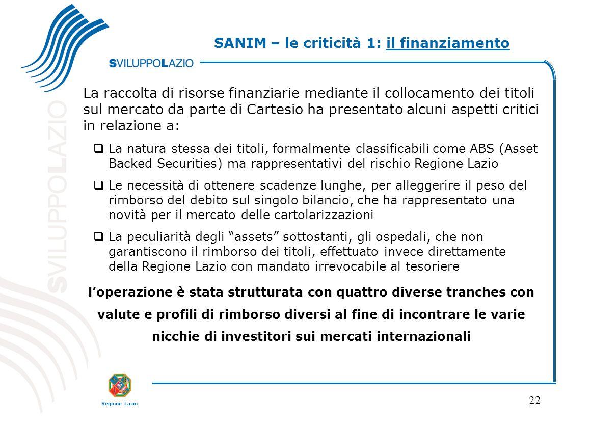 Regione Lazio 22 La raccolta di risorse finanziarie mediante il collocamento dei titoli sul mercato da parte di Cartesio ha presentato alcuni aspetti