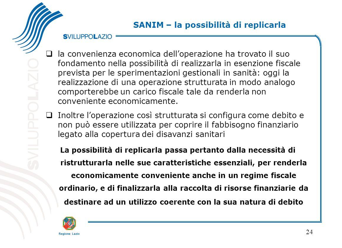 Regione Lazio 24  la convenienza economica dell'operazione ha trovato il suo fondamento nella possibilità di realizzarla in esenzione fiscale previst