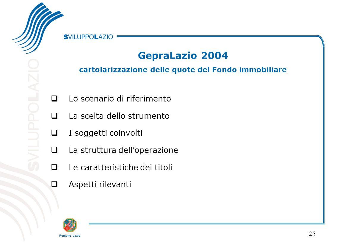 Regione Lazio 25 GepraLazio 2004 cartolarizzazione delle quote del Fondo immobiliare  Lo scenario di riferimento  La scelta dello strumento  I sogg