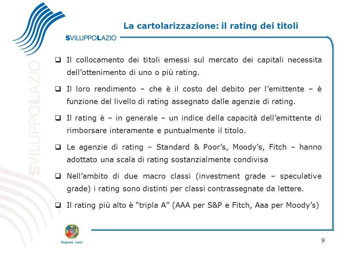 Regione Lazio 9  Il collocamento dei titoli emessi sul mercato dei capitali necessita dell'ottenimento di uno o più rating.  Il loro rendimento – ch