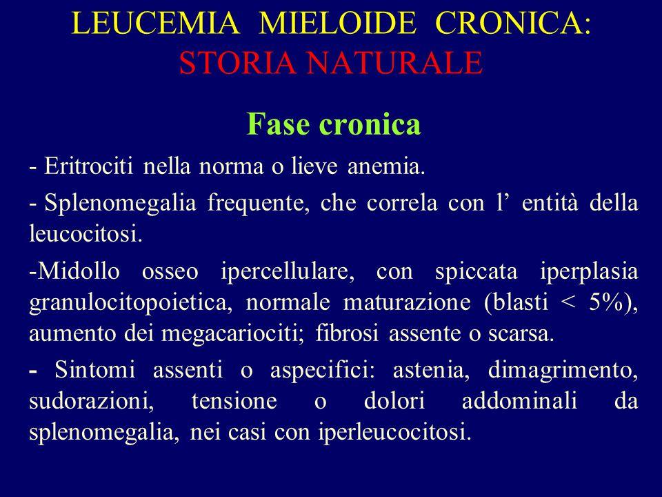 LEUCEMIA MIELOIDE CRONICA: STORIA NATURALE Fase cronica - Eritrociti nella norma o lieve anemia. - Splenomegalia frequente, che correla con l' entità