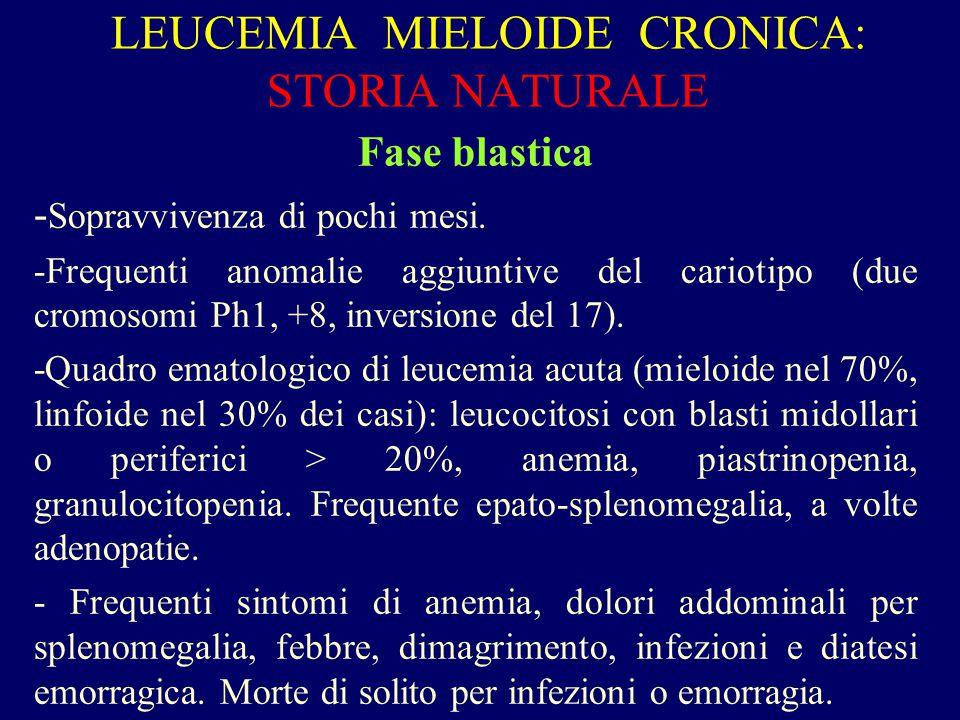 LEUCEMIA MIELOIDE CRONICA: STORIA NATURALE Fase blastica - Sopravvivenza di pochi mesi. -Frequenti anomalie aggiuntive del cariotipo (due cromosomi Ph