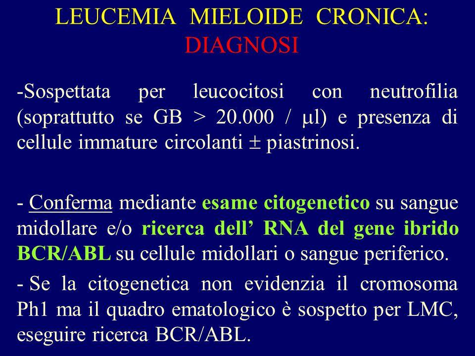 LEUCEMIA MIELOIDE CRONICA: DIAGNOSI -Sospettata per leucocitosi con neutrofilia (soprattutto se GB > 20.000 /  l) e presenza di cellule immature circ