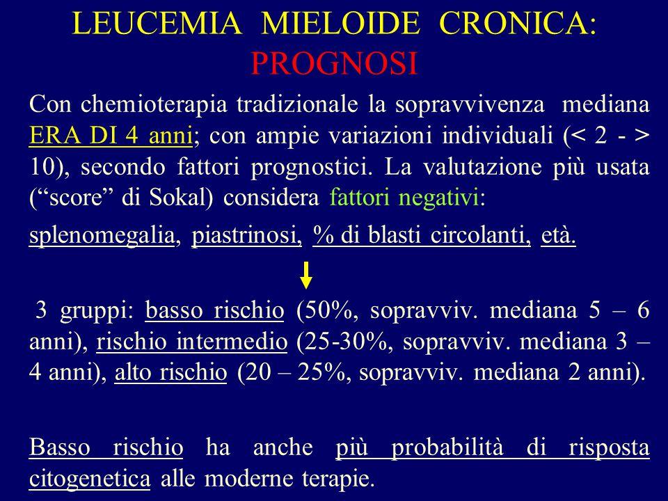 LEUCEMIA MIELOIDE CRONICA: PROGNOSI Con chemioterapia tradizionale la sopravvivenza mediana ERA DI 4 anni; con ampie variazioni individuali ( 10), sec