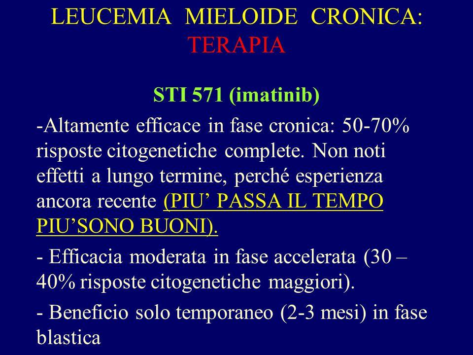 LEUCEMIA MIELOIDE CRONICA: TERAPIA STI 571 (imatinib) -Altamente efficace in fase cronica: 50-70% risposte citogenetiche complete. Non noti effetti a