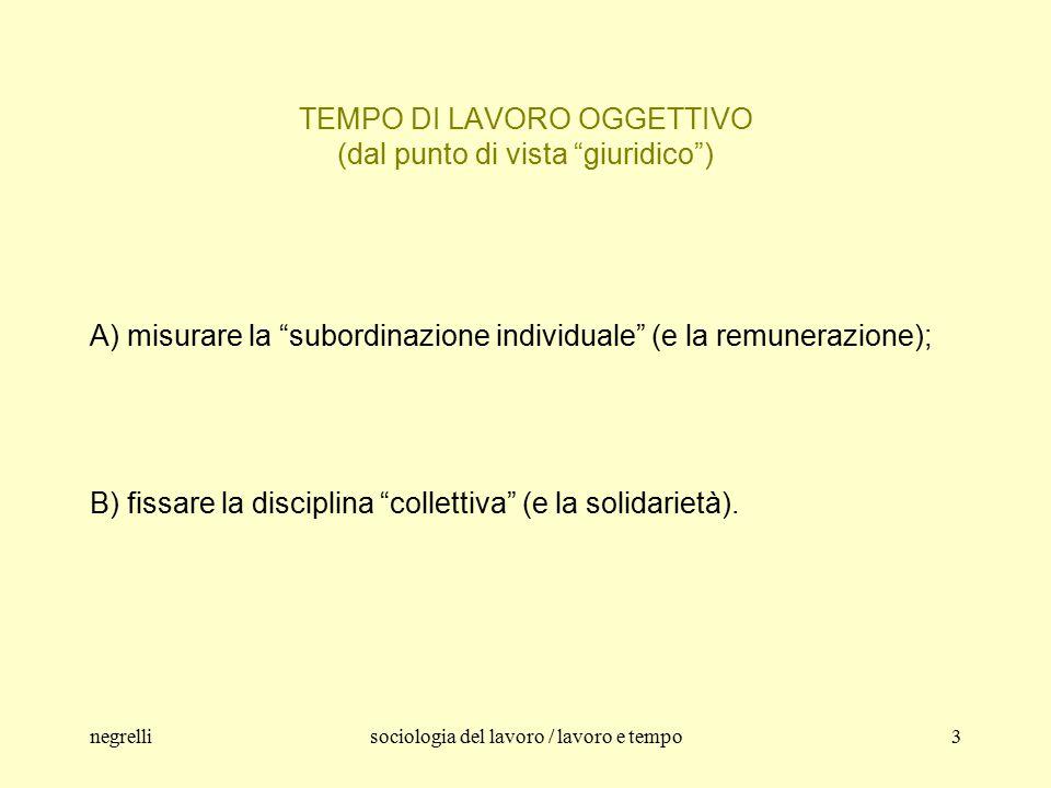 negrellisociologia del lavoro / lavoro e tempo4 TEMPO DI LAVORO E SUBORDINAZIONE 1.