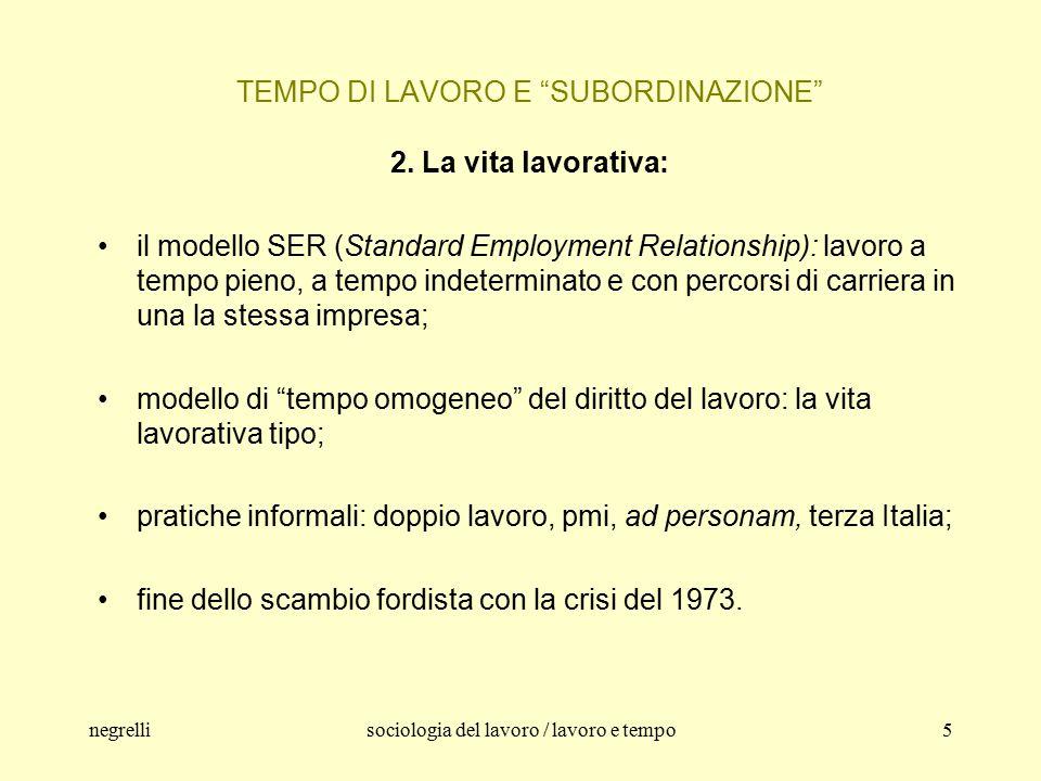 negrellisociologia del lavoro / lavoro e tempo5 TEMPO DI LAVORO E SUBORDINAZIONE 2.