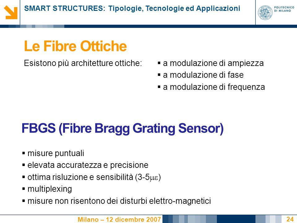 SMART STRUCTURES: Tipologie, Tecnologie ed Applicazioni Milano – 12 dicembre 2007 24 Le Fibre Ottiche Esistono più architetture ottiche:  a modulazione di ampiezza  a modulazione di fase  a modulazione di frequenza  misure puntuali  elevata accuratezza e precisione  ottima risluzione e sensibilità (3-5  )  multiplexing  misure non risentono dei disturbi elettro-magnetici FBGS (Fibre Bragg Grating Sensor)
