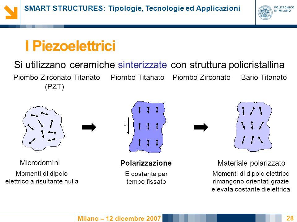 SMART STRUCTURES: Tipologie, Tecnologie ed Applicazioni Milano – 12 dicembre 2007 28 I Piezoelettrici Si utilizzano ceramiche sinterizzate con struttu