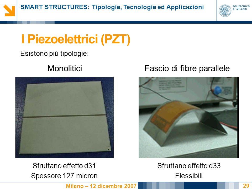 SMART STRUCTURES: Tipologie, Tecnologie ed Applicazioni Milano – 12 dicembre 2007 29 I Piezoelettrici (PZT) Esistono più tipologie: Monolitici Fascio