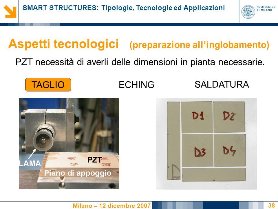 SMART STRUCTURES: Tipologie, Tecnologie ed Applicazioni Milano – 12 dicembre 2007 38 Aspetti tecnologici (preparazione all'inglobamento) PZT necessità di averli delle dimensioni in pianta necessarie.